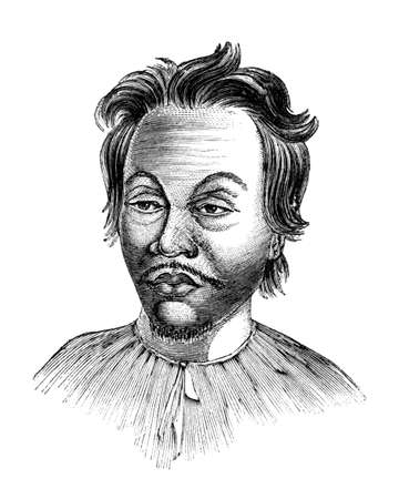 anthropology: Victorian engraving of a  Malaysian man. Digitally restored image from a mid-19th century Encyclopaedia.