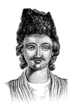 Victorian engraving of a  Circassian man. Digitally restored image from a mid-19th century Encyclopaedia.