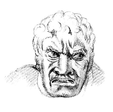 19th century engraving of an angry man Imagens
