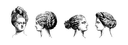 classical greek: Victorian engraving of hair style of Classical Greek women. Digitally restored image from a mid-19th century Encyclopaedia. Stock Photo