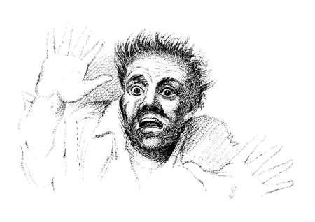 19e-eeuwse gravure van een bange man Stockfoto