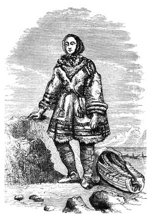 lapland: 19th century engraving of a Laplander in traditional costume