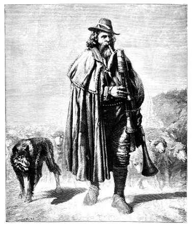 gaita: 19 de grabado del siglo de la de un pastor italiano, fotografiado desde un libro titulado Foto de archivo