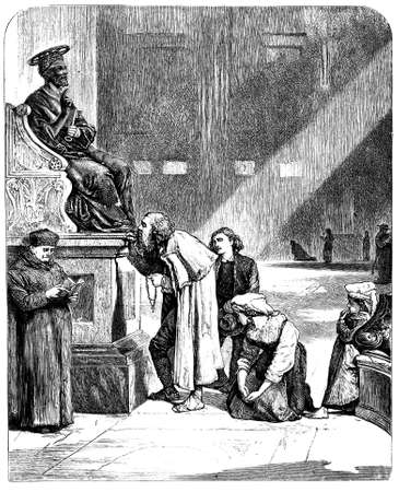 19th century engraving of the statue of St. Peter, St. Peter