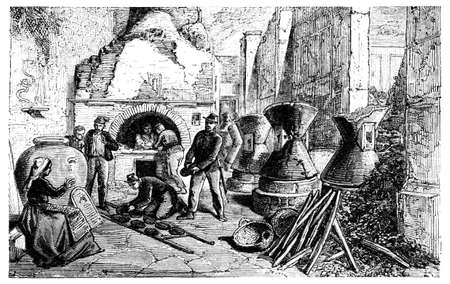 19th century engraving of a bakery, photographed from a book  titled