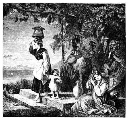 traditional illustration: 19th century engraving of Italian women at a fountain, photographed from a book  titled Stock Photo