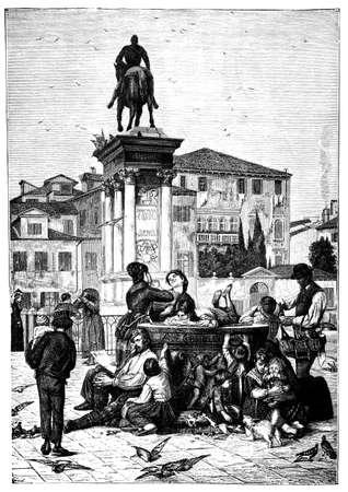 바르톨로메 Colleoni 기념물, 베니스, 이탈리아의 19 세기 조각은 제목의 책에서 촬영