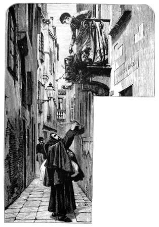 19th century engraving of a Venice street scene, Italy, photographed from a book  titled Stock Photo
