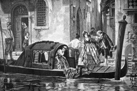 alleys: 19th century engraving of a Venice goldola ride, Italy, photographed from a book  titled Stock Photo