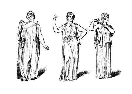 Victorian engraving of a  Classical Greek female dress. Digitally restored image from a mid-19th century Encyclopaedia. Stok Fotoğraf