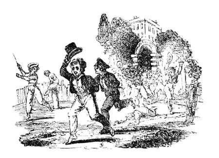 19e eeuwse gravure van Victoriaanse jongens lopen van school aan het eind van de dag Stockfoto
