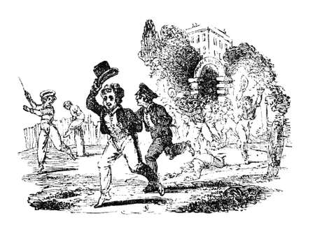 19th: 19th century engraving of Victorian boys running from school at the end of the day