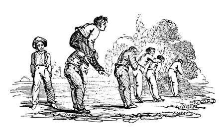 leapfrog: 19th century engraving of boys playing leapfrog Stock Photo