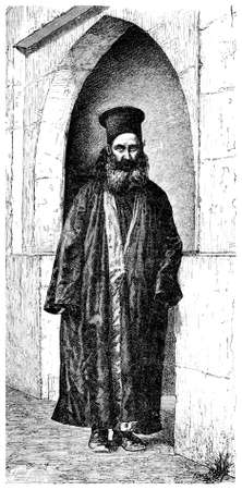 Victorian engraving of a Greek Orthodox priest. Digitally restored image from a mid-19th century Encyclopaedia.