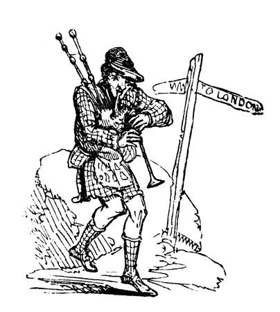 bagpipes: 19th century engraving of a man playing the bagpipes
