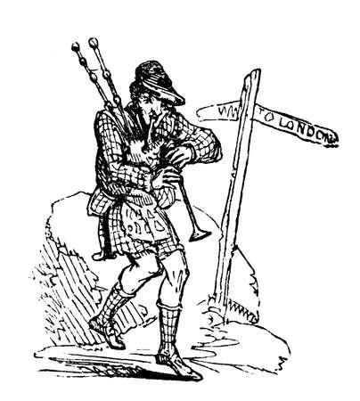 gaita: Grabado del siglo 19 de un hombre que toca la gaita