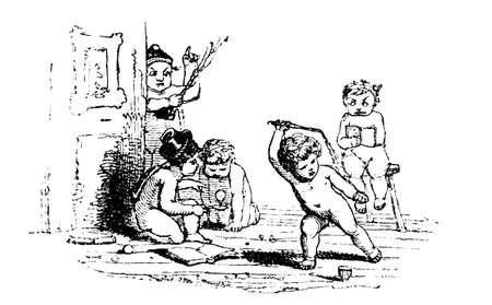 cherubs: 19th century engraving of cute cherubs playing games