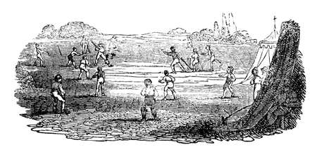 crickets: 19th century engraving of boys playing cricket Stock Photo