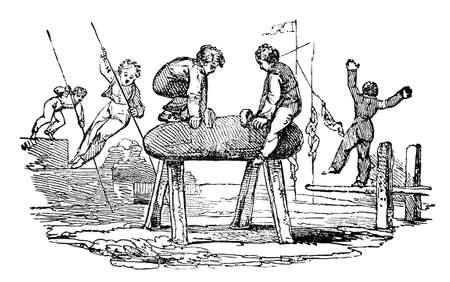 19th: 19th century engraving of boys doing gymnastics