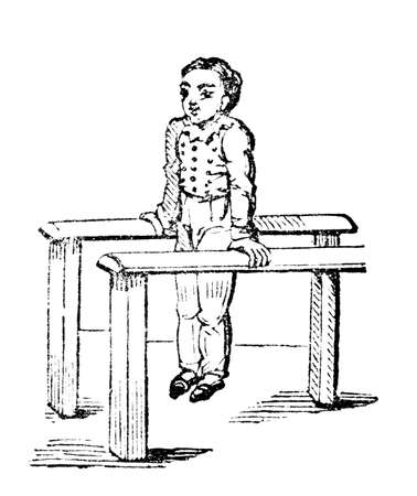 19th century engraving of a boy on the parallel bars