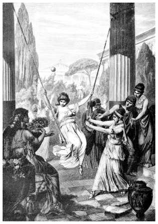 depiction: Victorian engraving of a depiction of classical Greek women. Digitally restored image from a mid-19th century Encyclopaedia.