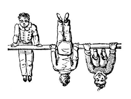 somersault: 19th century engraving of a boy doing gymnastics