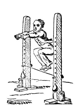 high jump: 19th century engraving of a boy doing a high jump