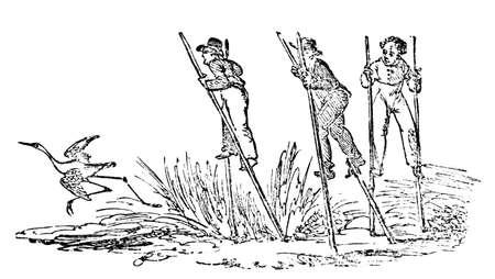 zancos: Grabado del siglo 19 de los hombres en zancos Foto de archivo