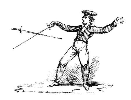 duel: 19th century engraving of a fencing match