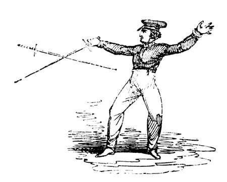 duel: 19th century engraving of fencing practice