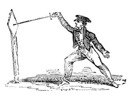 esgrima: Grabado del siglo 19 de la práctica de esgrima Foto de archivo