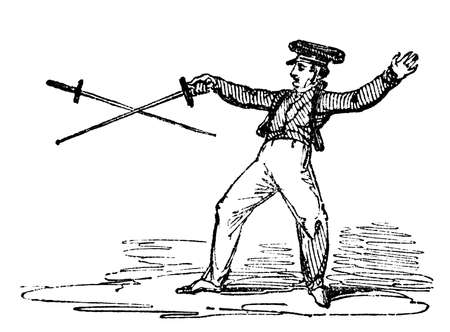 19th: 19th century engraving of a fencing match