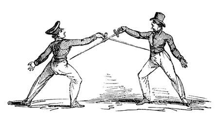 fencing: 19th century engraving of a fencing match
