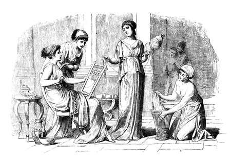 집에서 고전 그리스 여성의 빅토리아 조각. 19 세기 중반 백과 사전에서 디지털 복원 된 이미지. 스톡 콘텐츠