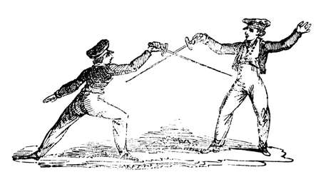19th century engraving of a fencing match
