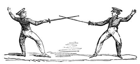 fencing sword: 19th century engraving of a fencing match