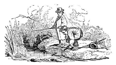 creek: 19th century engraving of boys angling