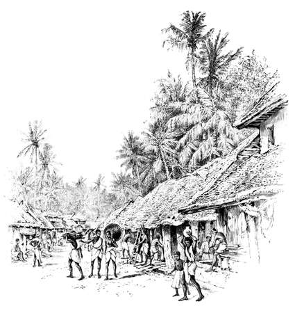 anthropology: Victorian engraving of a  village street in India. Digitally restored image from a mid-19th century Encyclopaedia.
