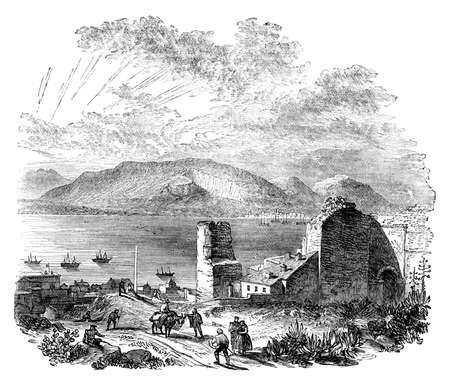 Victoriaanse gravure van een uitzicht op de baai van Gibraltar, Spanje. beeld digitaal hersteld van een midden van de 19e eeuw Encyclopedie. Stockfoto