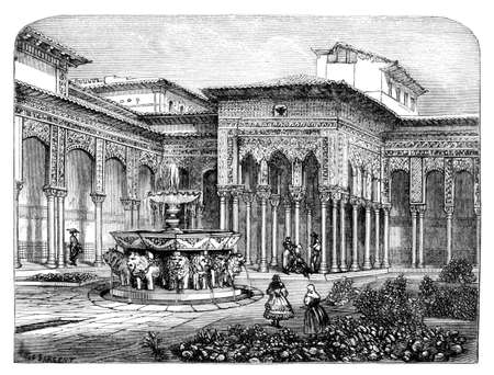 Victorian engraving of the Court of the Lions, Alhambra, Granada. Digitally restored image from a mid-19th century Encyclopaedia.