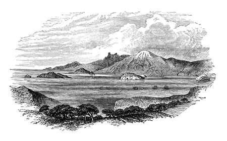 Magellan の海峡、チリのビクトリア朝の彫刻。デジタル中間第 19 世紀の百科事典からイメージを復元します。 写真素材
