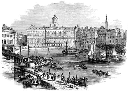 amsterdam canal: Victorian engraving of Amsterdam. Digitally restored image from a mid-19th century Encyclopaedia.