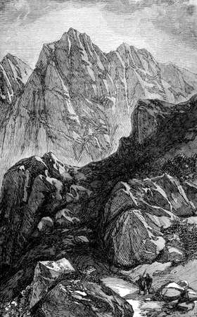 monte sinai: Grabado Victorian del monte Sinaí, Egipto. Imagen digitalmente restaurada de una enciclopedia mediados del siglo 19.