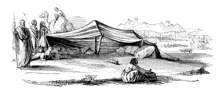Victorian engraving of an arab caravan camp in the Sahara. Digitally restored image from a mid-19th century Encyclopaedia.