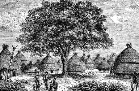 anthropology: Victorian engraving of an indigenous African village