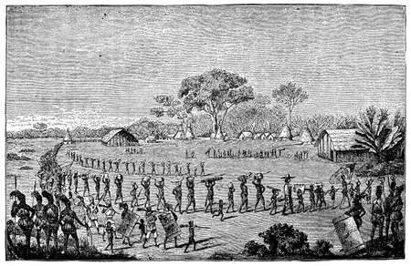 anthropology: Victorian engraving of an African colnial expedition