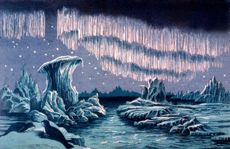 Victorian engraving of the Aurora Borealis. Digitally restored image from a mid-19th century Encyclopaedia.