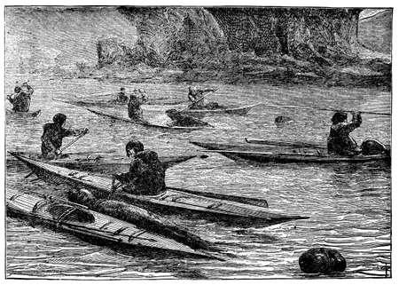 이누이트 사냥 도장의 빅토리아 조각