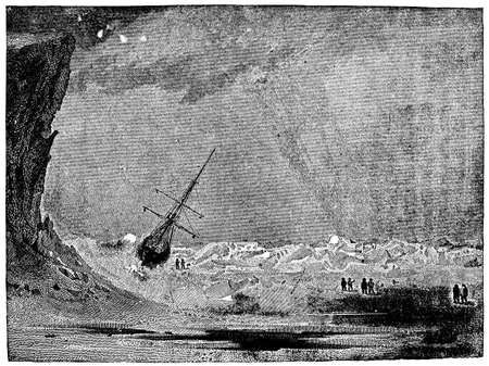 Victorian engraving of a stranded polar expedition Banco de Imagens
