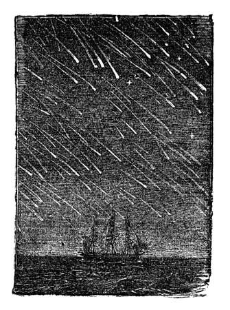 Victorian engraving of a meteor storm. Digitally restored image from a mid-19th century Encyclopaedia.